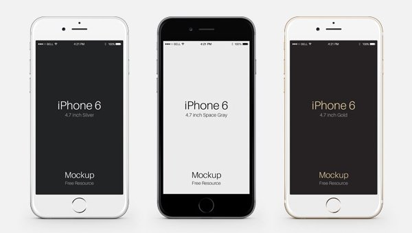 iPhone 6 Vector silver gray gold-47 inch mockup free