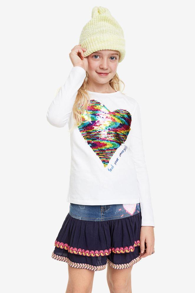 Maglietta cuore paillettes reversibili