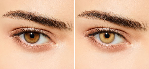 before & after light brown eyes