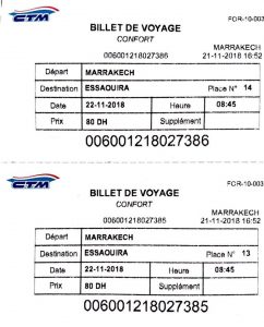 CTM bus ticket Marrakech Essaouira