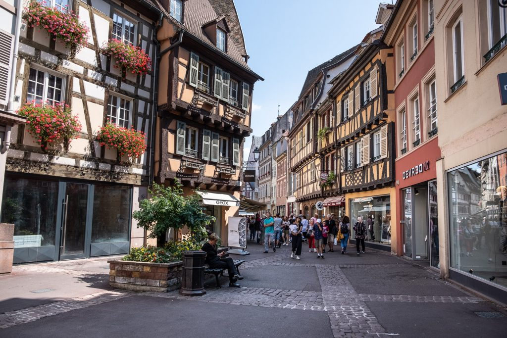 Colmar, Alsace, France, View, street, pastel, houses, people