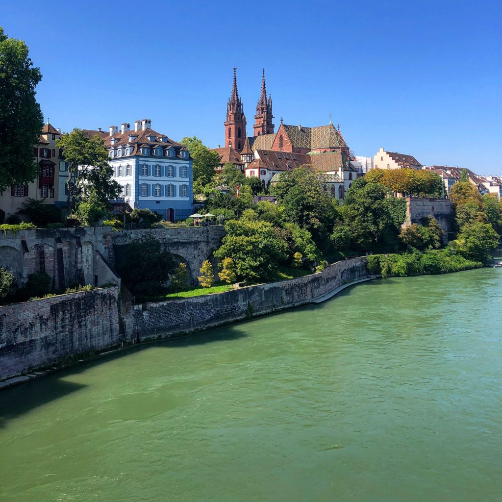 Basel, Switzerland, view, Rhein, Rheine, river, church,