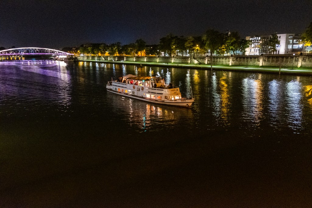 Krakow, Poland, Wisla, river, night, reflection, lights, boat, bridge