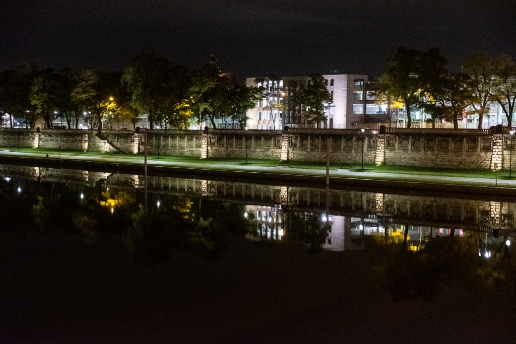 Krakow, Poland, Wisla, river, reflection, night
