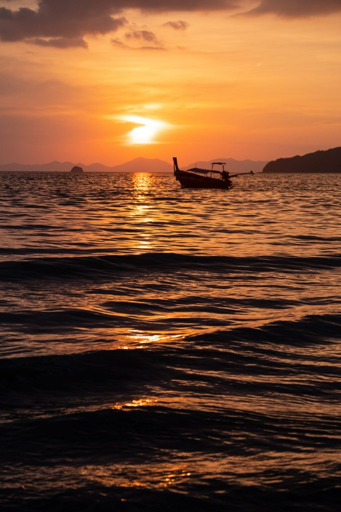 Krabi, Ao Nang, Railay Beach, sunset, longtsisl, boat nature