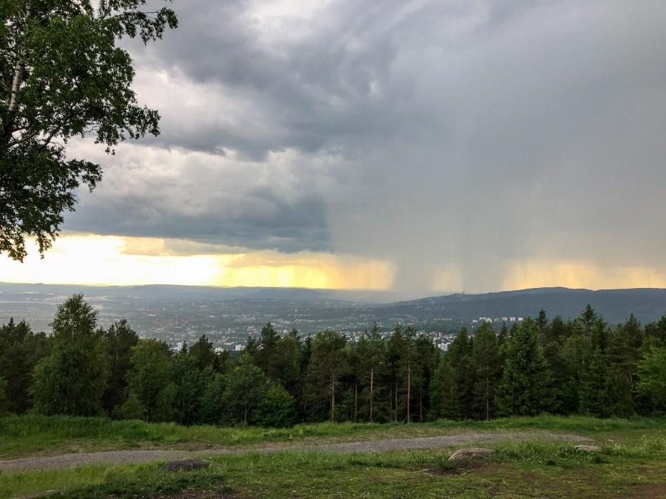 Grefsenkollen, Oslo, utsikt, regn, himmel, natur