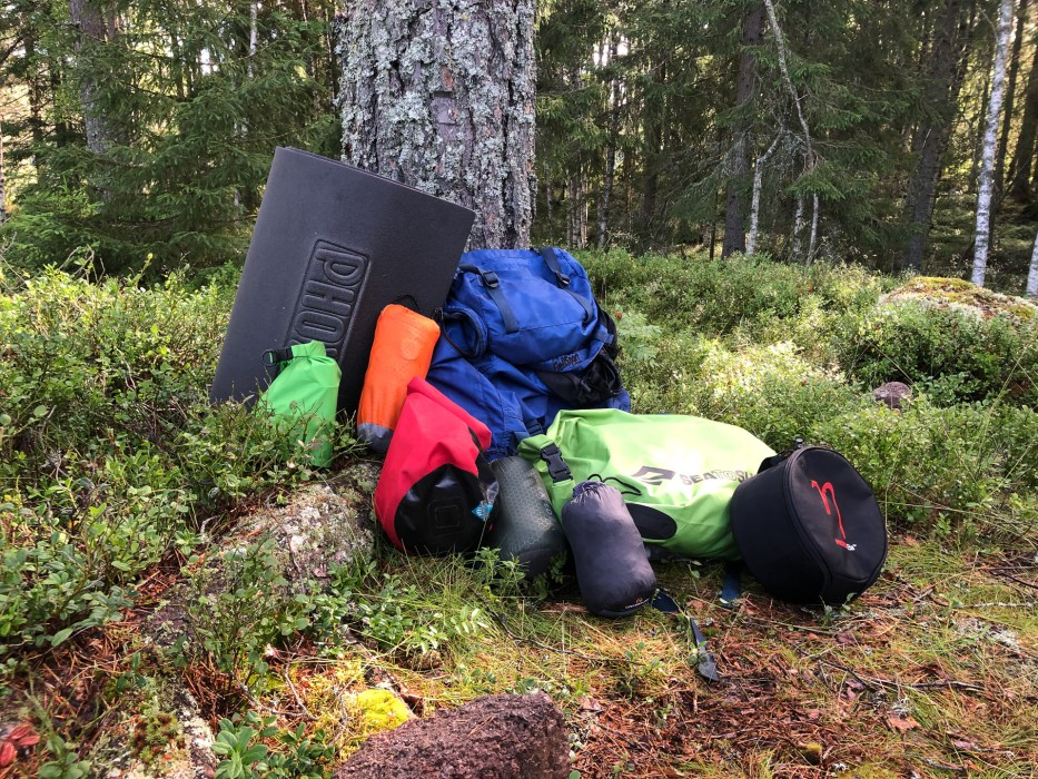 camping, gear, forest, nature