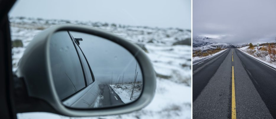 Driving over Valdresflye with snow
