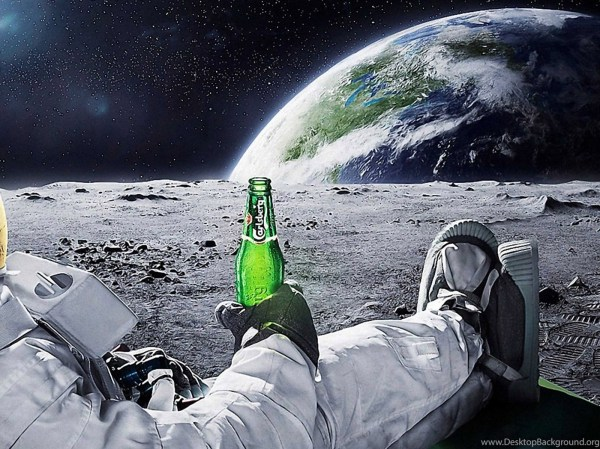 Astronaut Drinking Carlsberg Beer Moon Space Wallpapers ...
