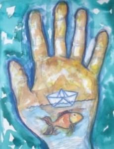 luis villatoro mano con pez y barco