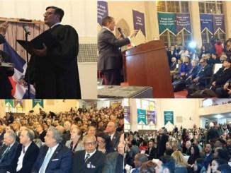 Adriano Espaillat es juramentado por el juez Rolando Acosta. A la derecha, el congresista se dirige a los presentes durante el acto.