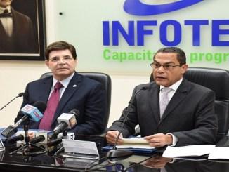 Julio Brache Álvarez y Rafael Ovalles al anunciar la Septima versión del Premio Nacional a la Excelencia