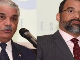 De izquierda a derecha: canciller dominicano, Miguel Vargas Maldonado y el embajador de República Dominicana en España