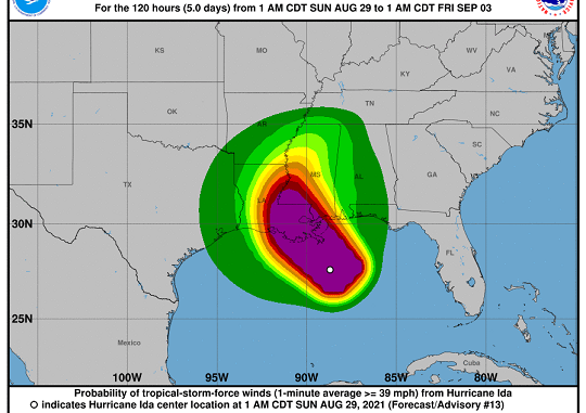 Peligroso huracán Ida de categoría 4