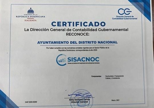 Certificado que reconoce la implementación de buenas prácticas contables