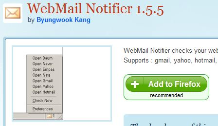 webmail notifier for firefox