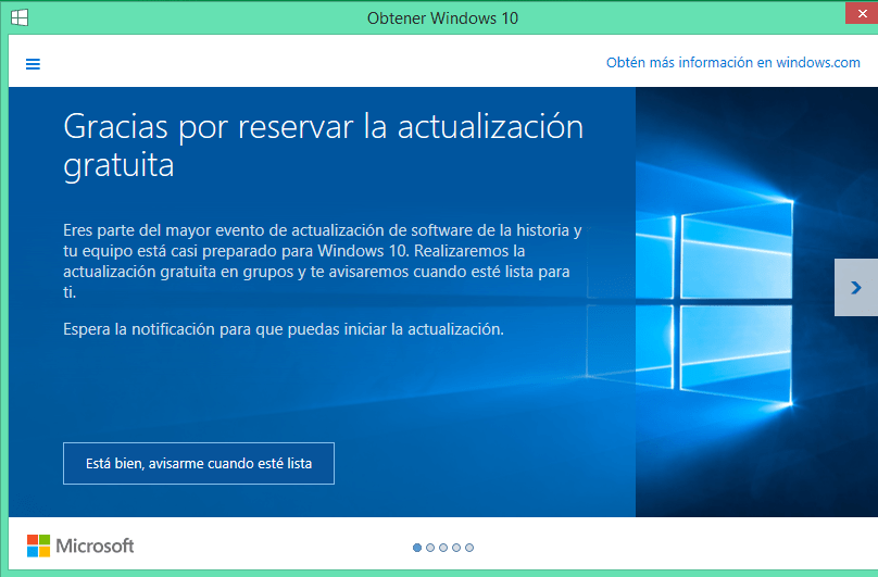 reserva windows 10