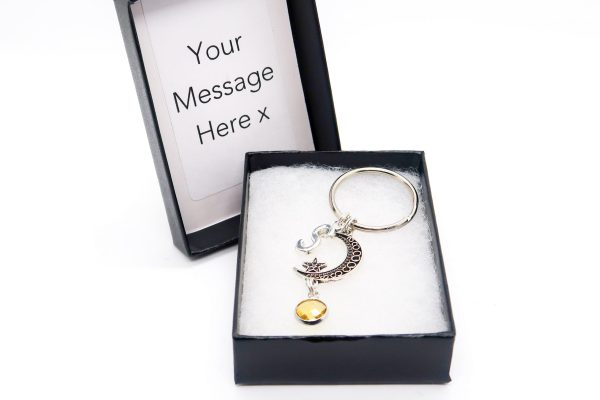 Personalised Crescent Moon Phase Keychain with Birthstone & Initial Charms