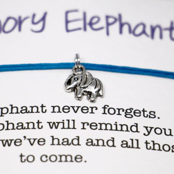 Set of 2 Memory Elephant Friendship Bracelet