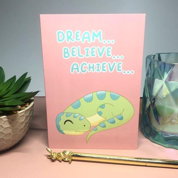 Set of 5 Blank A6 Dinosaur positivity Greeting Cards featuring Reggie the Raptor