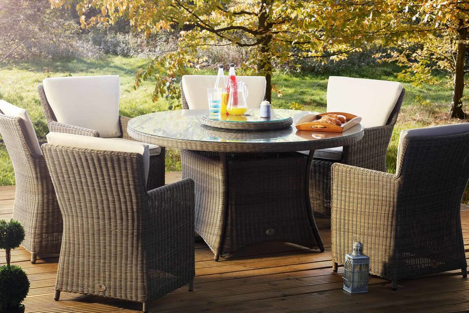 hilton mink 6 seat rattan outdoor dining set with a glass top table lazy susan