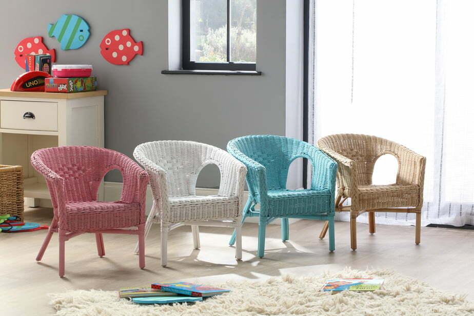 kids wicker loom chair white