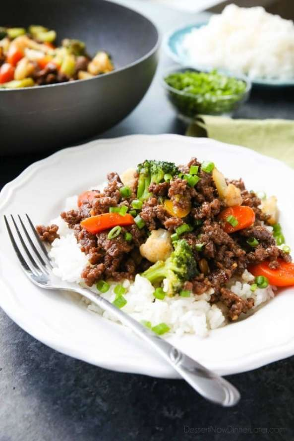quick and easy dinner ideas, simple dinner ideas, cheap korean beef and veggies