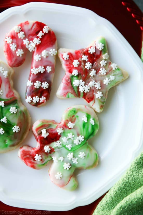 Swirled Christmas Sugar Cookies   Dessert Now  Dinner Later  Swirled Christmas Sugar Cookies make cookie decorating easy  Simply swirl  food coloring in a special