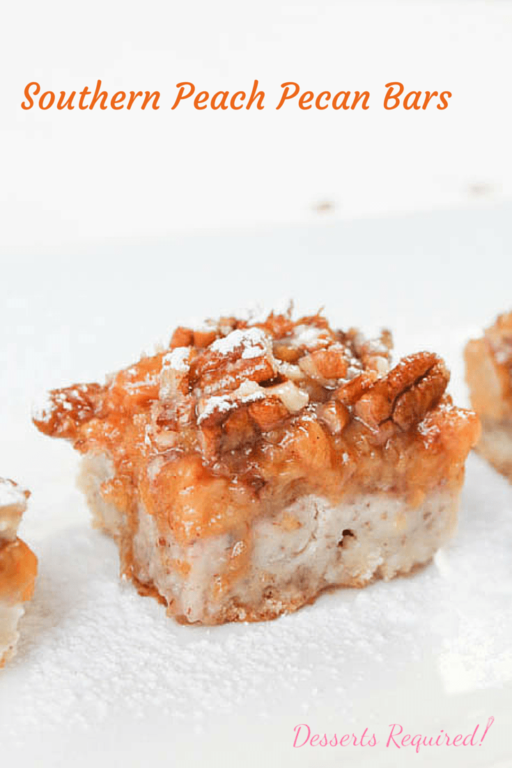Pecans are included in the crust of Desserts Required's Southern Peach Pecan Bars because pecans are so Southern and they pair, beautifully, with peaches.