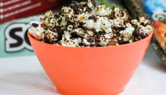 A sprinkle of sea salt with the melted chocolate and you, too, will be able to enjoy a big bowl of Desserts Required's Chocolate Drizzle Popcorn.