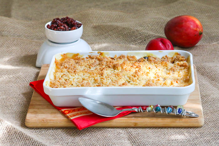 Desserts Required's Nectarine Mango Cherry Crisp is ideal for Father's Day. The fruit is glorious and panko crumbs make for a crispy top. An easy recipe that bakes in a snap.