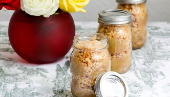 Apple Crisp in a Jar is easy. The apples are cooked on the stove. The panko topping is baked in the oven and the mason jars are then assembled. Yummy! #SundaySupper