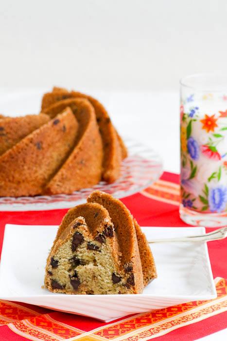 Chocolate Chip Bundt Cake is like a giant chocolate chip cookie in a cake! The gorgeous swirly cake has an elegant turbinado sugar crust that is yummy!