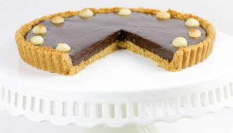 Chocolate Macadamia Nut Tart  #SundaySupper