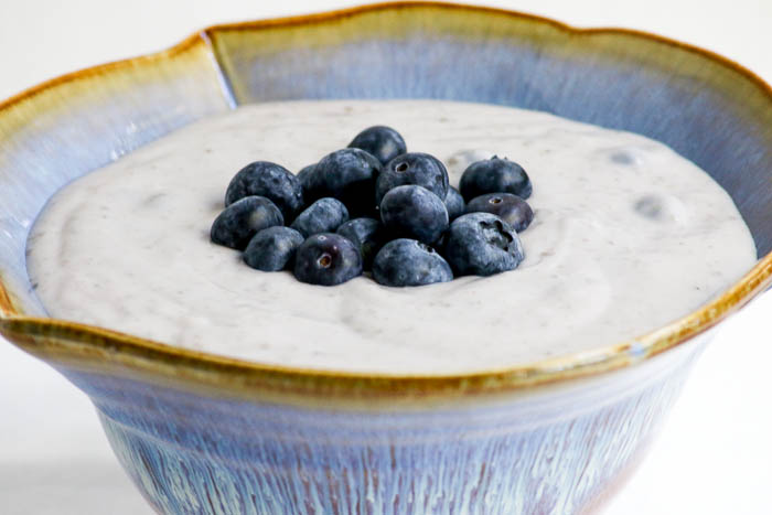 Blueberry Cream is in between a pudding and a sauce. There are several ways to enjoy this dessert. Serve in bowls or use it as a topping for fruit or cake.