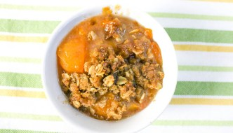 Gluten Free Peach Apricot Crisp combines the sweetness of summer stone fruits with a tasty gluten free oat topping. Serve hot, warm or cold - your choice!