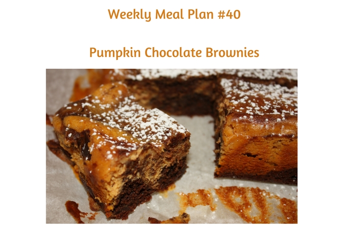 Weekly Meal Plan #40 is filled with delicious breakfast, lunch and dinner options. Plus, Pumpkin Chocolate Brownies for dessert!