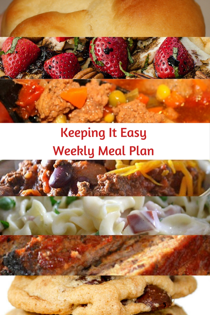 Easy Weekly Meal Plan #45 from My Fearless Kitchen. This week's meal plan includes Gluten-Free Chocolate Chip Cookies, Anytime Rolls, Cranberry Meatloaf, Crockpot Chili, Slow Cooker Beef & Vegetable Soup, Ham & Cheese Noodle Skillet, and Strawberry Balsamic Chicken Flatbread.