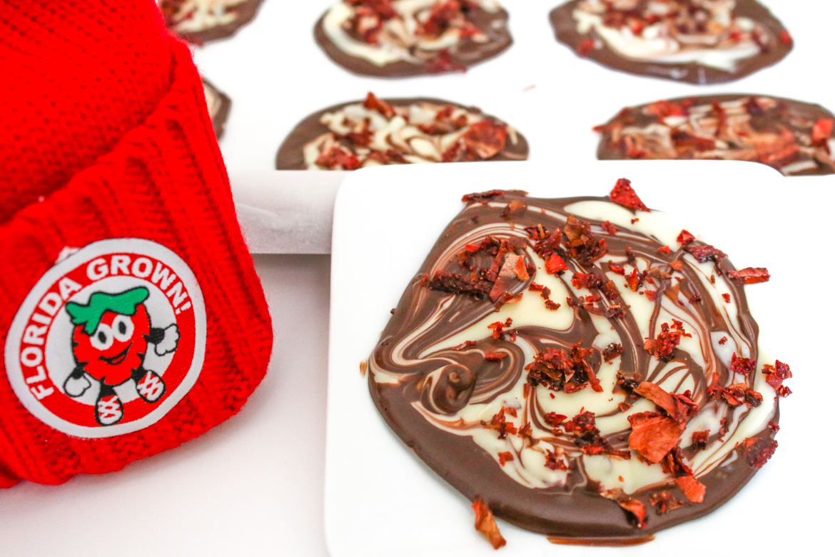 Strawberry Basil Chocolate Discs are a decadent way to utilize Florida Strawberries long after the season ends by dehydrating the berries first.