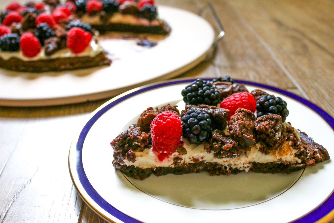 Summer Brownie Pizza is chocolate heaven topped with raspberries and blackberries. Pair it with a glass of CK Mondavi and Family's Merlot! #ad