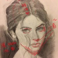 投稿247:女性の顔写真のデッサン