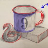 投稿347:コップと積み木とフラミンゴ浮き輪のミニチュアのデッサン