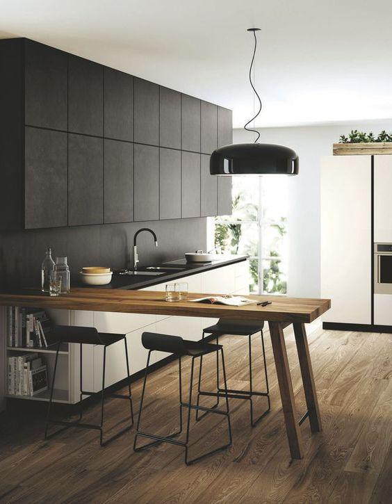 îlot de cuisine bois contemporain