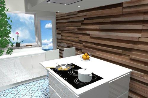 cuisine épurée laque, bois et quartz