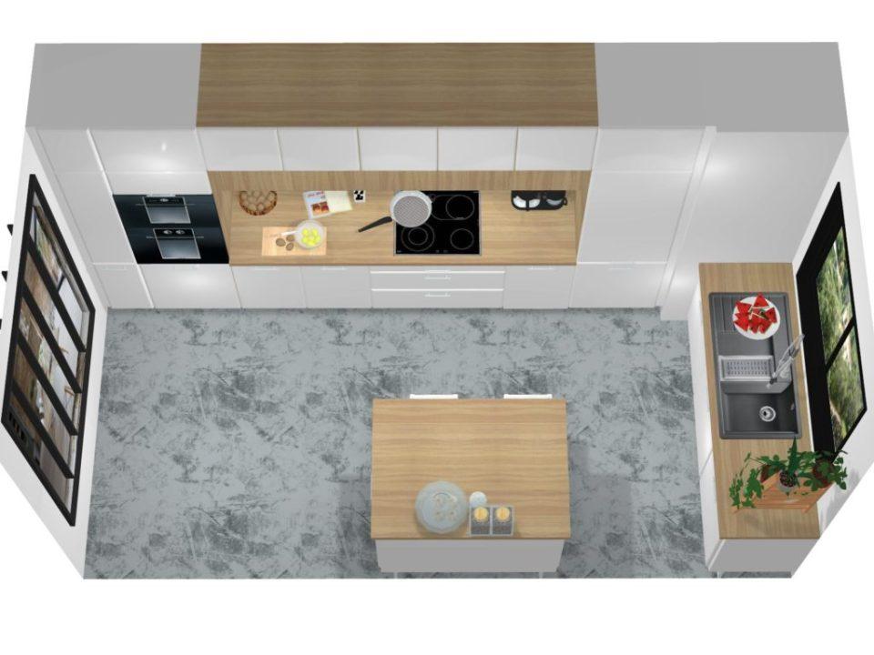 cuisine contemporaine projet 3d vue dessus