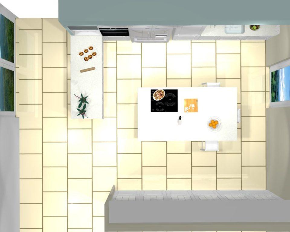 projet cuisine 3d shabby chic vue dessus