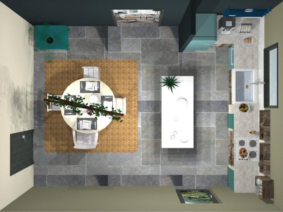 cuisine style bohème projet 3d et diy vue dessus