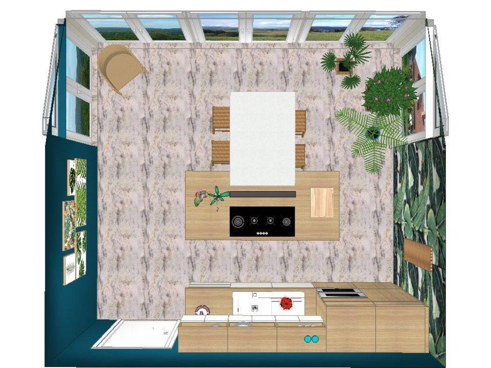 cuisine style tropical dans une véranda projet 3d vue dessus