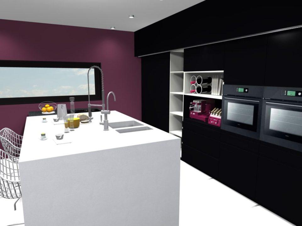 cuisine contemporaine, épurée, noir et blanc PROJET 3D