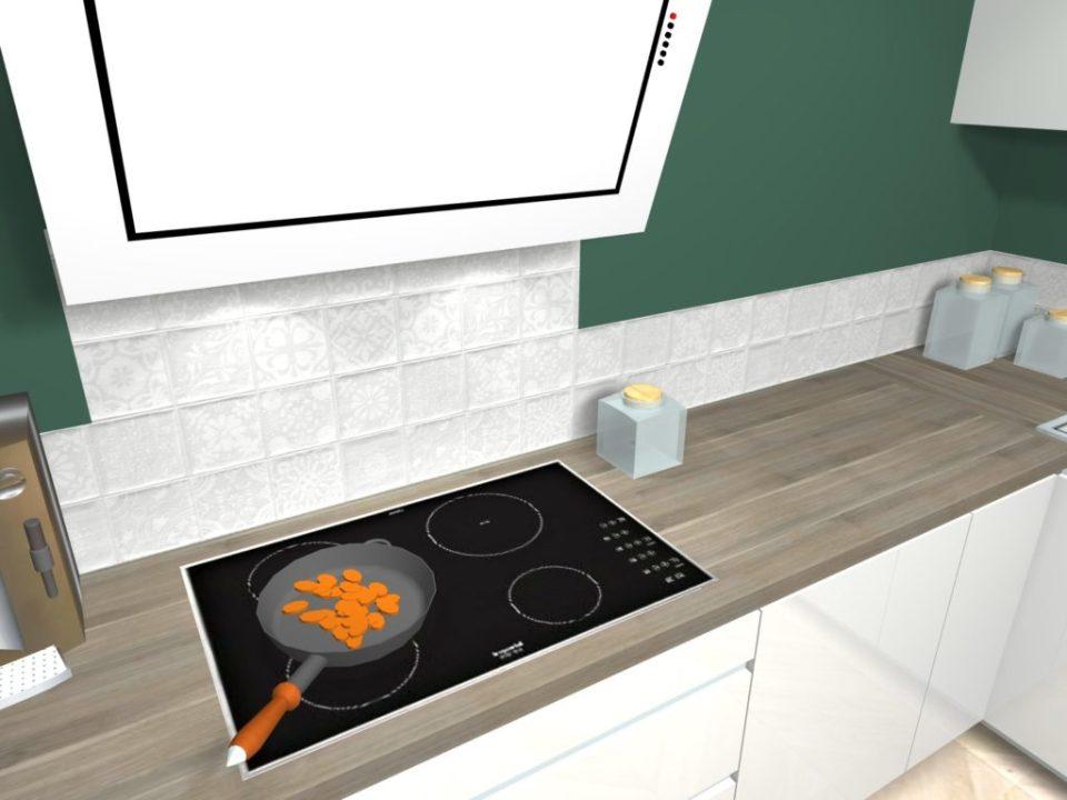 cuisine contemporaine alliant le charme de l'ancien projet 3d